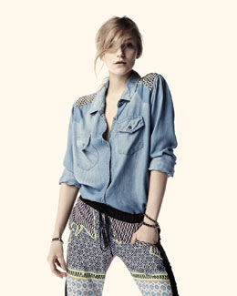 Rails Rylan Stud-Shoulder Chambray Top & Neon Cowboy Printed Pants