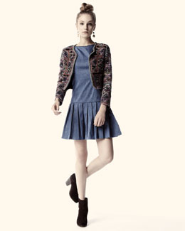 Alice + Olivia Embellished Striped Cropped Jacket & Harper Pleated-Skirt Dress