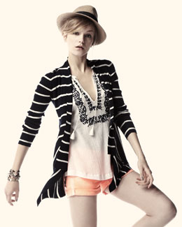 Hudson Striped Cotton Cardigan & Hampton Cuffed Shorts