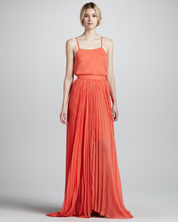 Alice + Olivia Layered Georgette Tank & Shannon Pleated Chiffon Maxi Skirt