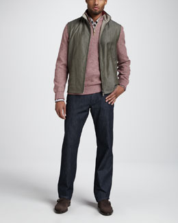Ermenegildo Zegna Reversible Herringbone Vest, Quarter-Zip Waffle Sweater, Multi-Stripe Sport Shirt & Clean Dark Jeans