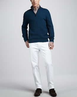 Ermenegildo Zegna Quarter-Zip Waffle Sweater, Plaid Sport Shirt & White Jeans