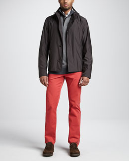 Ermenegildo Zegna Microfiber Blouson Jacket, Quarter-Zip Birdseye Sweater & Five-Pocket Pants