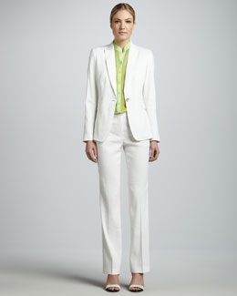 Elie Tahari Darcy One-Button Suit Jacket, Chelsea Chiffon Blouse & Theora Straight-Leg Pants
