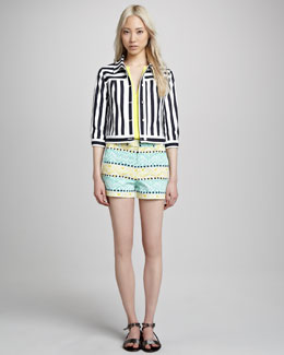 Nanette Lepore Panorama Striped Jacket, Pegasus Sleeveless Blouse & Andros Printed Shorts