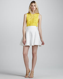 Nanette Lepore Tranquil Sleeveless Lace Top & Ferry Fit & Flare Skirt