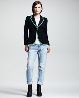Rag & Bone Bromley Piped Blazer & Adeline Check-Texture Top