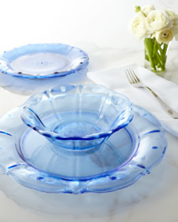"Juliska Delft-Blue ""Collette"" Glass Dinnerware"
