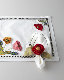 MacKenzie-Childs Red Poppy Placemat & Napkin