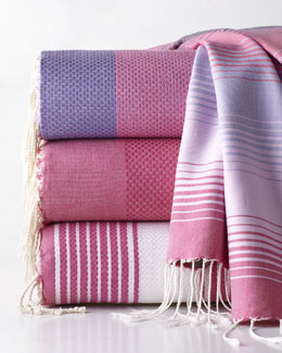 "Scents and Feel Fuchsia ""Fouta"" Towels"