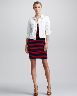 Ralph Lauren Black Label Cropped Denim Jacket & Striped Cotton Elbow-Sleeve Dress