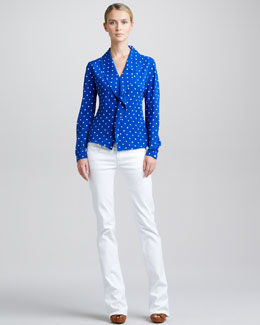 Ralph Lauren Black Label Ruffled Polka-Dot Top & Boot-Cut Jeans