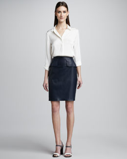 Elie Tahari Brenda Silk Blouse & Naomi Leather Peplum Skirt