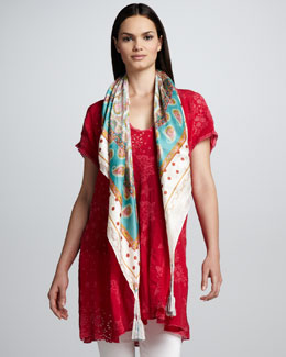 Johnny Was Collection V Neck Patchwork Tunic & Polka Paisley Print Scarf