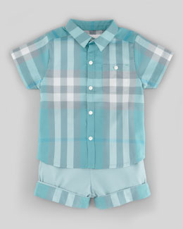 Burberry Short Sleeve Check Shirt & Twill Shorts