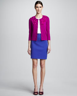 kate spade new york kati cardigan with flowers, estella sleeveless ruffle-neck top & judy pencil skirt