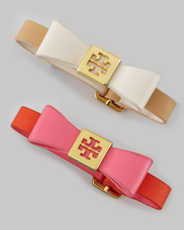Tory Burch Leather Bow Bracelet