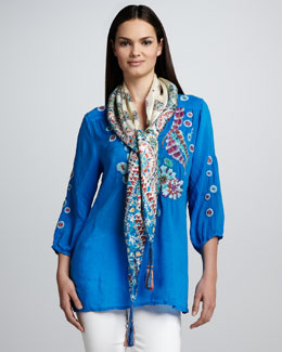 Johnny Was Collection Bay Feather Embroidered Blouse & Carnival Silk Georgette Scarf