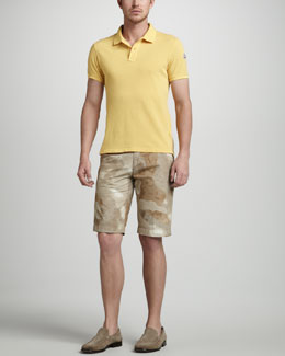 Moncler Butter Yellow Pique Polo & Camouflage Shorts