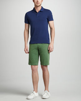 Moncler Denim Pique Polo & Kelly Green Shorts