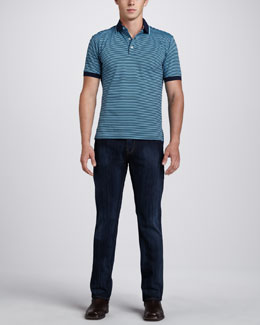Robert Graham X-Collection Barcelo Striped Polo & Classic Simply Blue Jeans