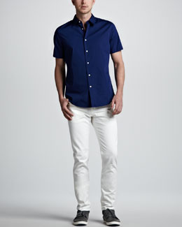 Vince Short-Sleeve Sport Shirt & Sunbleached Slim Jeans