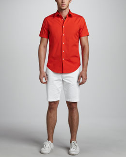 Vince Short-Sleeve Stretch-Cotton Shirt & Twill Trouser Shorts