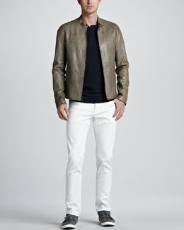 Vince Leather Biker Jacket, Slub Henley Tee & Sunbleached Slim Jeans