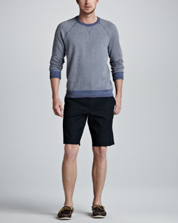 Vince Cotton-Cashmere Raglan Sweatshirt & Twill Trouser Shorts