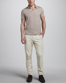 Theory Bron Striped Polo & Perth Slim Cotton Pants