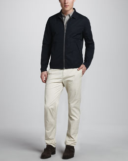 Theory Ion Lightweight Jacket, Bron Striped Polo & Perth Slim Cotton Pants
