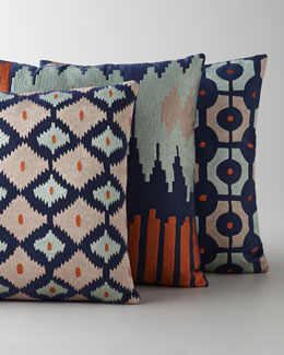 """Bali"" Ikat Embroidered Pillows"