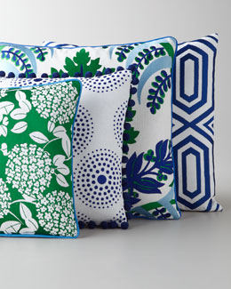 Green, Blue, & White Embroidered Pillows