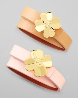 Tory Burch Shawn Floral-Logo Leather Wrap Bracelet