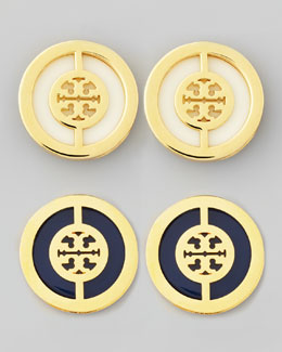 Tory Burch Deco Double-T Logo Stud Earrings