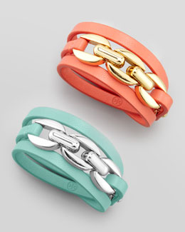 Tory Burch Triple-Wrap Leather Bracelet