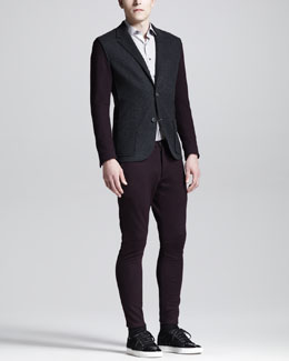 Lanvin Single-Breasted Jacket, Biker Pants & Striped Shirt