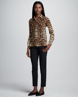 Dolce & Gabbana Leopard-Print Silk Button-Up Blouse & Cropped Slim Pants