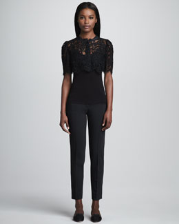 Dolce & Gabbana Cropped Lace Bolero & Kate Cropped Slim Pants