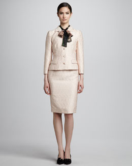 Dolce & Gabbana Fitted Jacquard Jacket, Pencil Skirt & Rose-Print Silk Georgette Ascot Blouse