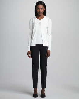 Dolce & Gabbana Lace-Panel Silk Knit Cardigan, Tank & Cropped Slim Pants
