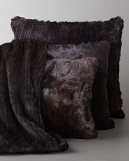 Adrienne Landau Knit Mink Throw & Rabbit Pillow