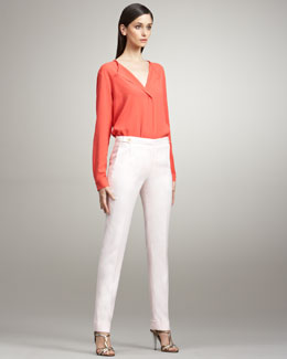 Peter Som Cropped Narrow Trousers, Petal