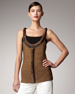 Donna Karan Hand-Embroidered Crochet Tank