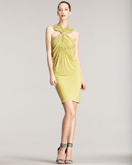 Donna Karan Cross-Neck Jersey Dress