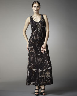 Lanvin Snake-Print Tank Maxi Dress