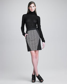 Missoni Basket Knit-Paneled Leather Skirt