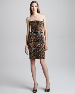 DSquared2 Leopard-Print Straight Corset Dress