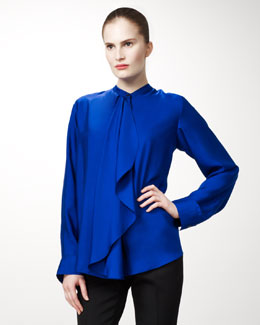 Stella McCartney Draped-Front Silk Blouse