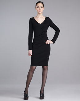 St. John Collection Milano Faux-Wrap Knit Dress